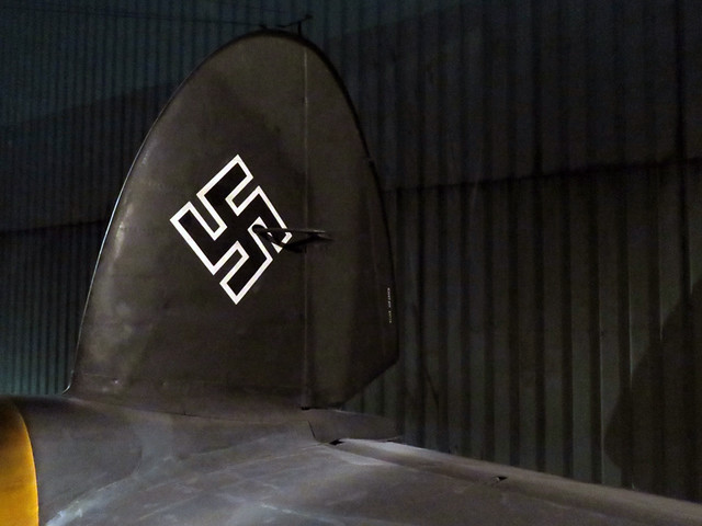 World War 2 Exhibit, a Plane with a Swastika on Its Tail in The 'Aqualiner' public transport in Rotterdam, Holland