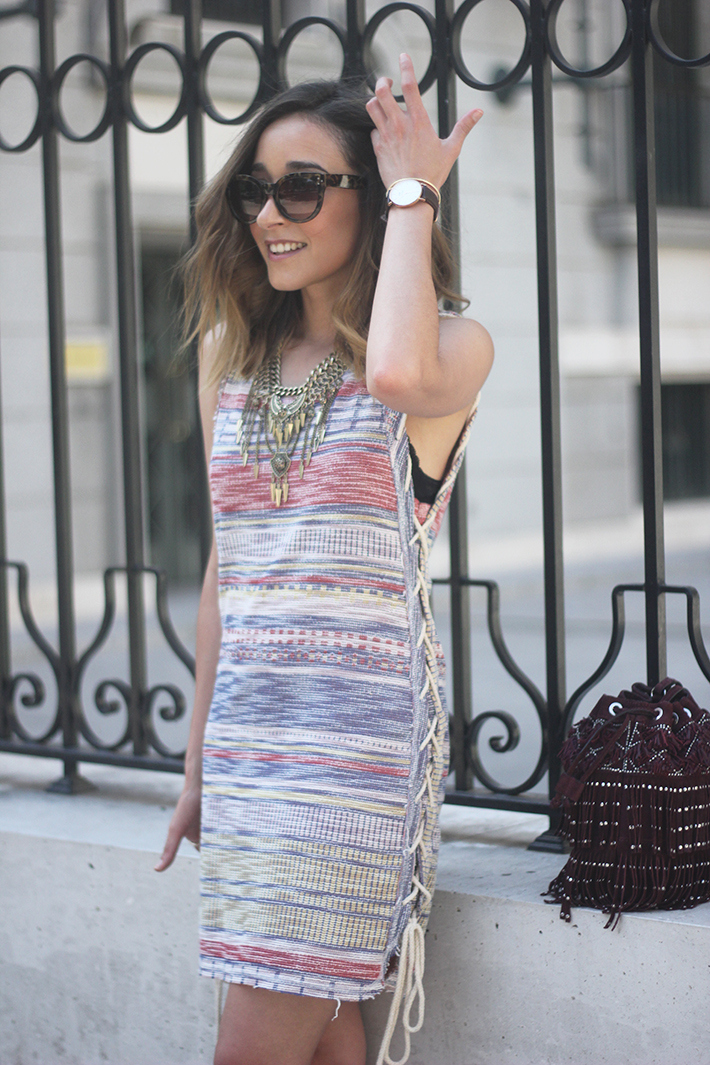 Dress with stripes pink wedges 17
