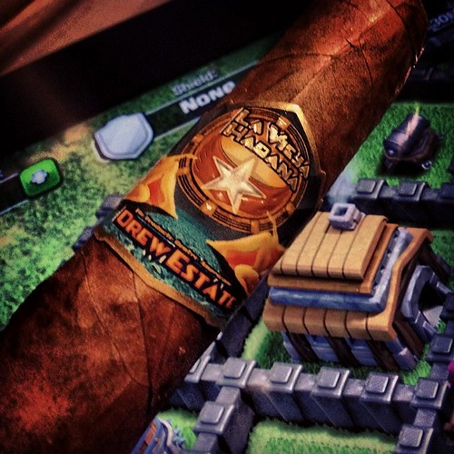 Some Clash of Clans paired with a nicely aged La Vieja Habana @drewestatecigar
