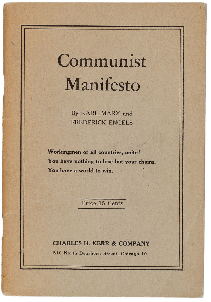 marx and engels the communist manifesto essay The communist manifesto is an 1848 political pamphlet by the german  philosophers karl marx  the communist manifesto summarises marx and  engels' theories concerning the nature of society and politics, that  this  became the draft principles of communism, described as less of a credo and  more of an exam paper.