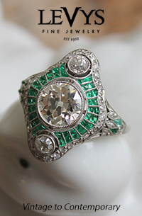Levys-Art Deco emerald and diamond