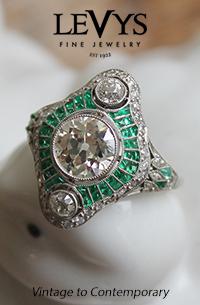 Levys-Art Deco emerald and diamond