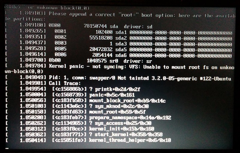Linux boot problem