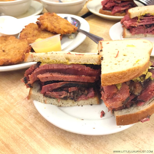 Katz's deli NYC pastrami sandwiches by little luxury list