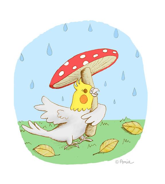 Cockatiel in the rain illustration