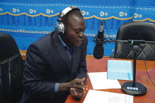 Journalist gives inaugural broadcast at Radio Hémicycle, Porto-Novo, Benin | by United Nations Development Programme