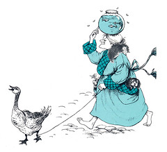 old woman with fishbowl and goose