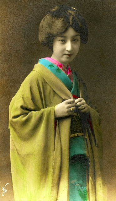 Geisha Sakae - hand coloured 1910s