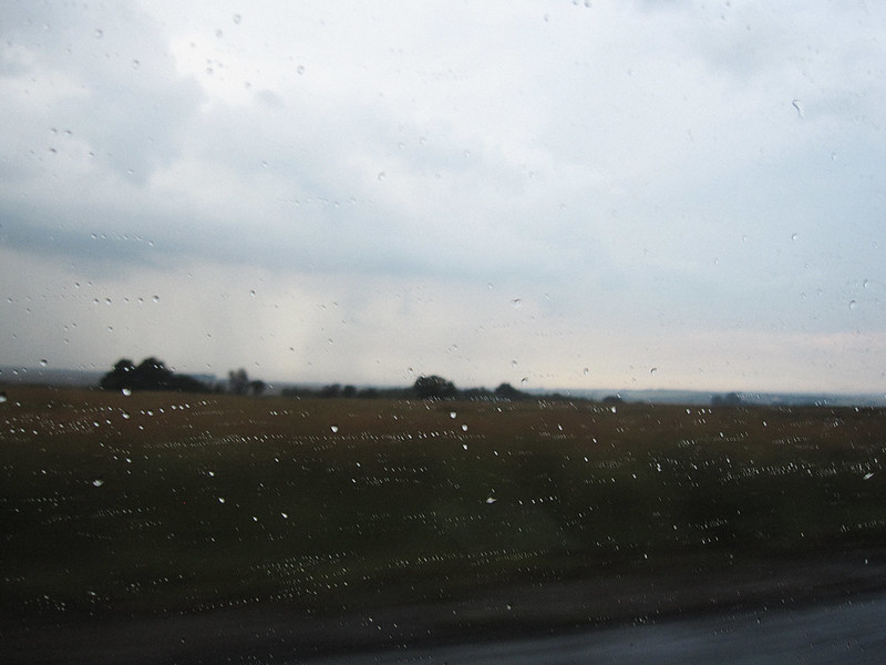 rain on the car window -  back to johannesburg
