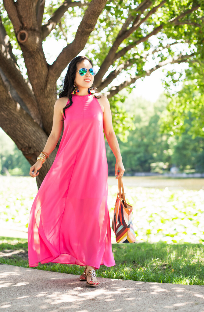 cute & little blog | petite fashion | pink chiffon maxi beach cover-up dress, tory burch kerrington tote, tory burch nude miller sandals, blue mirror aviators, j.crew tortoise tassel chandelier earrings | summer outfit