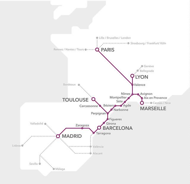 Rutas de Renfe-Sncf en Cooperación entre España y Francia