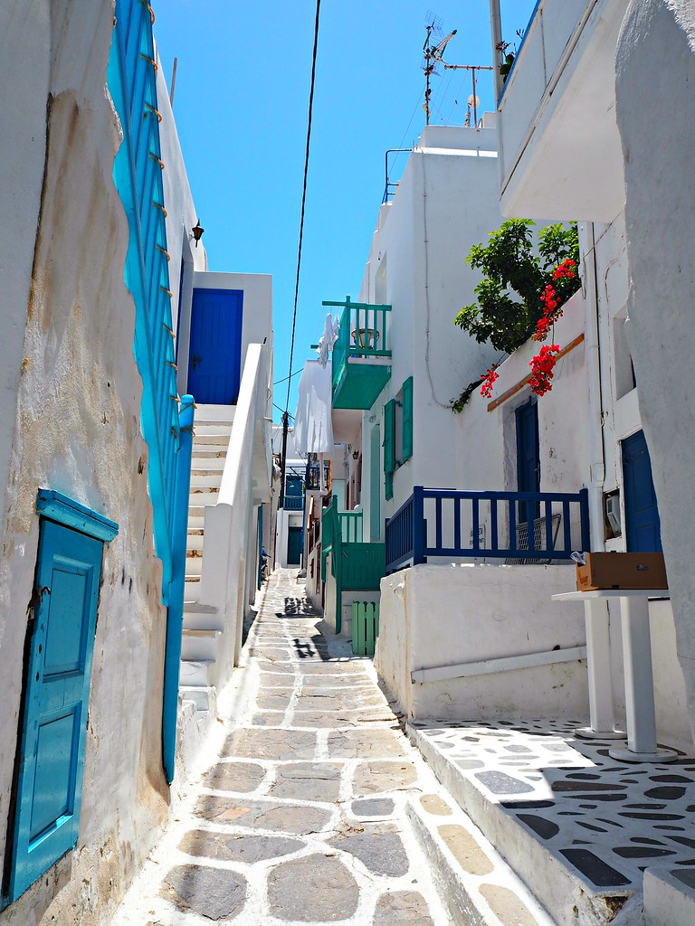 Mykonos blue and white streets