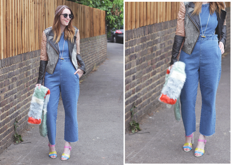 Asos Dungarees and leather jacket, Bumpkin Betty