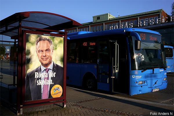 Jan Björklund, folkpartiet, Alliansen, skolminister, Skene, Parkskolan, skolbuss, Kinna, Marks kommun, Borås resecentrum, Borås, järnvägsstation, bussterminal