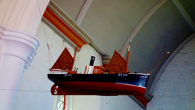 Suspended model boat inside St Monans Church, Fife