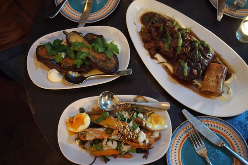 Feast of Merit, 117 Swan Street, Richmond, Melbourne - eggplant (roasted eggplant, smoked yogurt, harissa oil, pinenuts, parsley), carrots (heirloom/ common carrots, honeyed tahini, soft egg, dukkah spices), and a beef stew