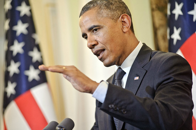 President Obama Responds to a Question During News Conference With Polish President Komorowski