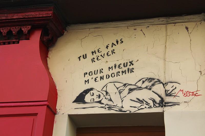 Miss Tic Graffiti Rue des Cinq Diamants Buttes aux Cailles Paris