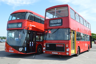 New Bus for London LT 230 (LTZ 1230) and  Ex-London Transport V3 (A103 SUU) showing a contrast of ages.