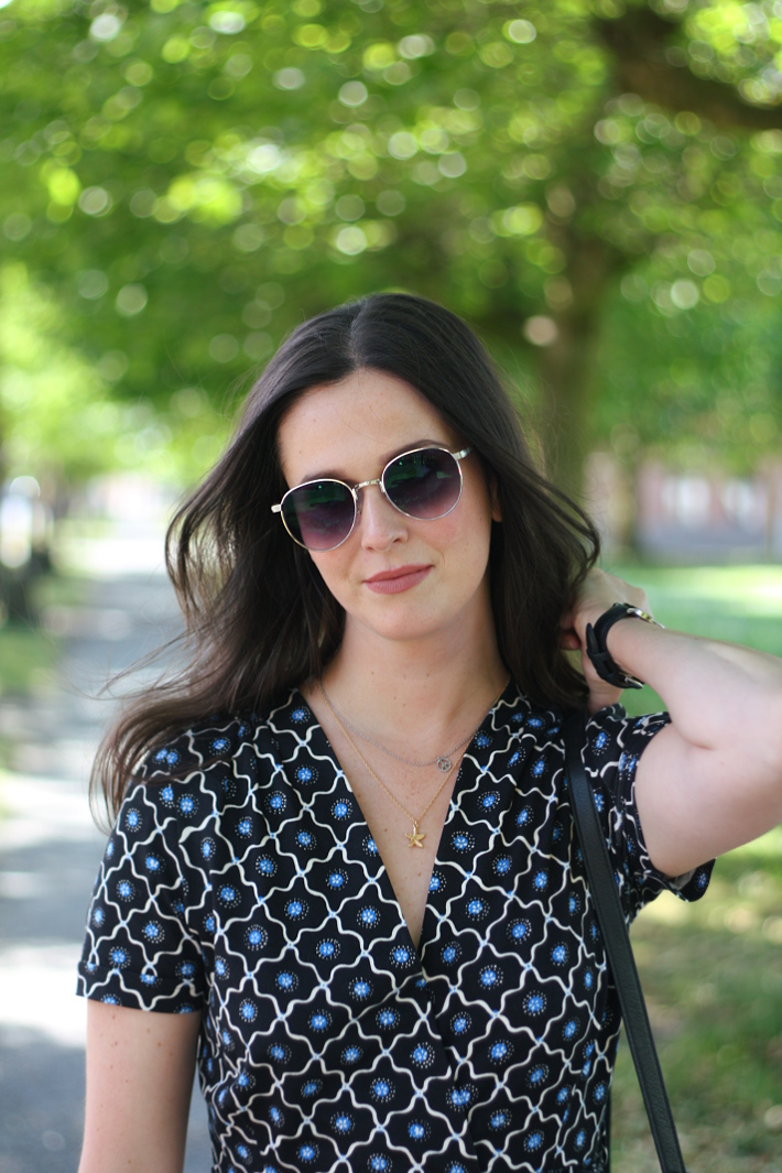 business casual outfit: wrap dress, polette sunglasses
