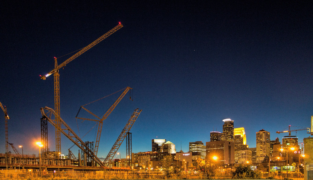 minnesota vikings stadium at night under construction