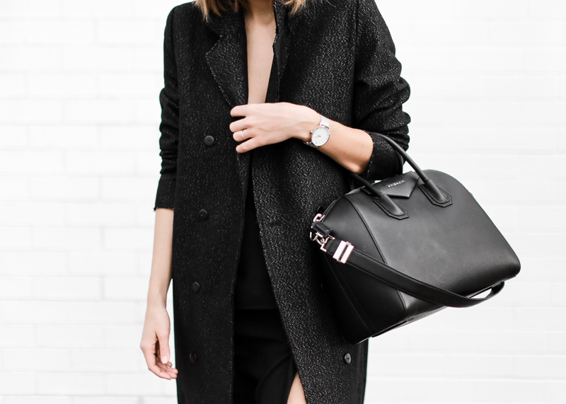 modern legacy, fashion blog, street style, all black, off duty, Givenchy Antigona medium, C&M Manhattan coat, editorial (1 of 1)