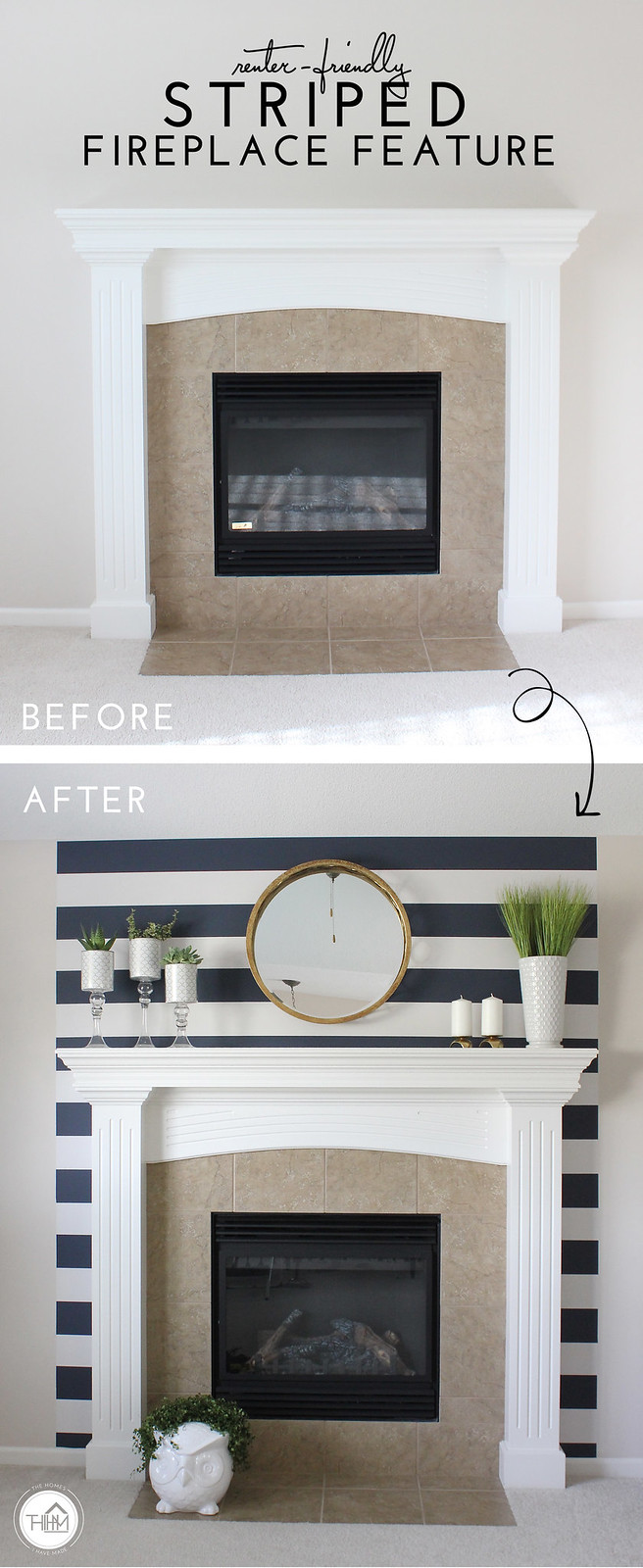 Renter Friendly Striped Fireplace Feature