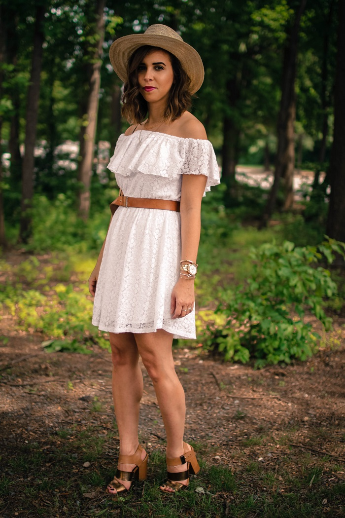 aviza style. a viza style. andrea viza. fashion blogger. dc blogger. off the shoulder white dress. abercrombie dress. floppy hat. white dress. summer style. 7
