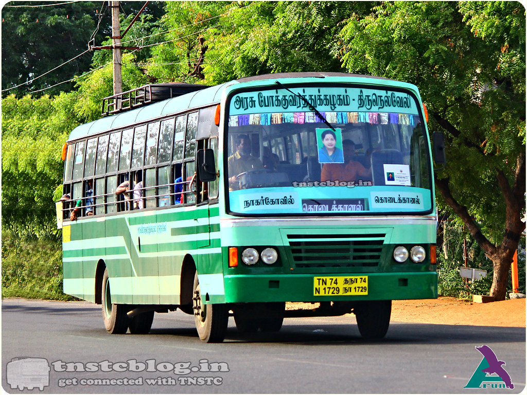 TN-74N-1729 of Ranithottam 1 Depot Route Nagercoil - Kodaikanal via Tirunelveli, Madurai.