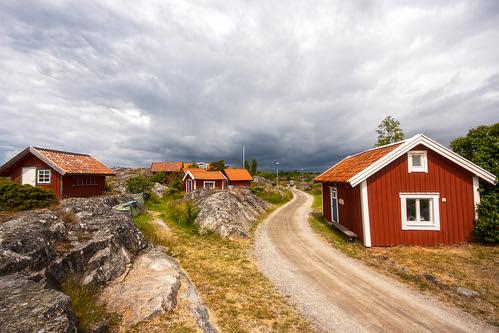little red cottages on the hillside