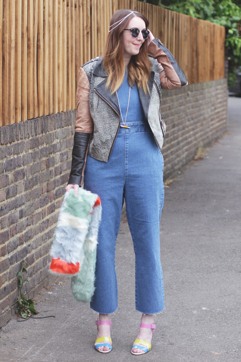 Asos Denim Jumpsuit and Fur Scarf, Bumpkin Betty Style Blog