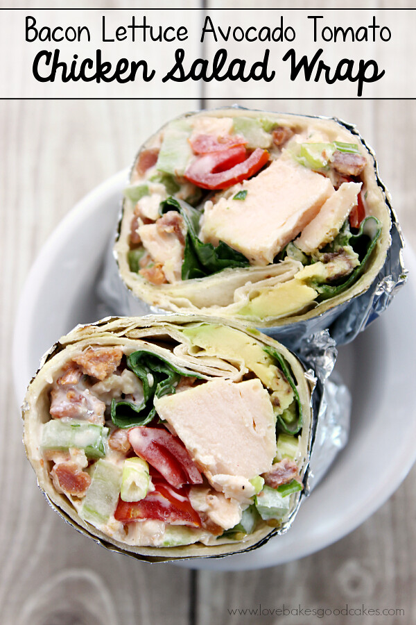 Bacon Lettuce Avocado Tomato Chicken Salad Wrap in a white bowl.