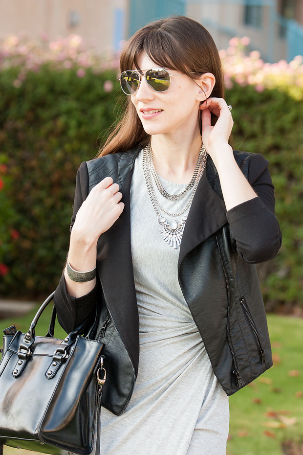Happiness Boutique Necklace, Black Leather Jacket, Grey Midi Dress, Ifchic