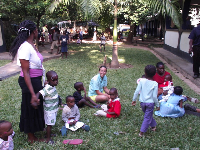 Jenny having a chat with our children & mama mapenzi