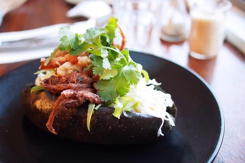 Hammer & Tong 412, Rear 412 Brunswick Street, Fitzroy, Melbourne - soft-shell crab dog, with black sesame dog slaw, coriander and sriracha sauce mayo