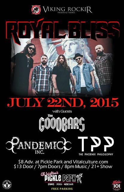 07/22/15 Royal Bliss/ The GooDBarS/ Pandemic Inc./ The Phoenix Philosophy @ G.B. Leighton's Pickle Park, Fridley, MN