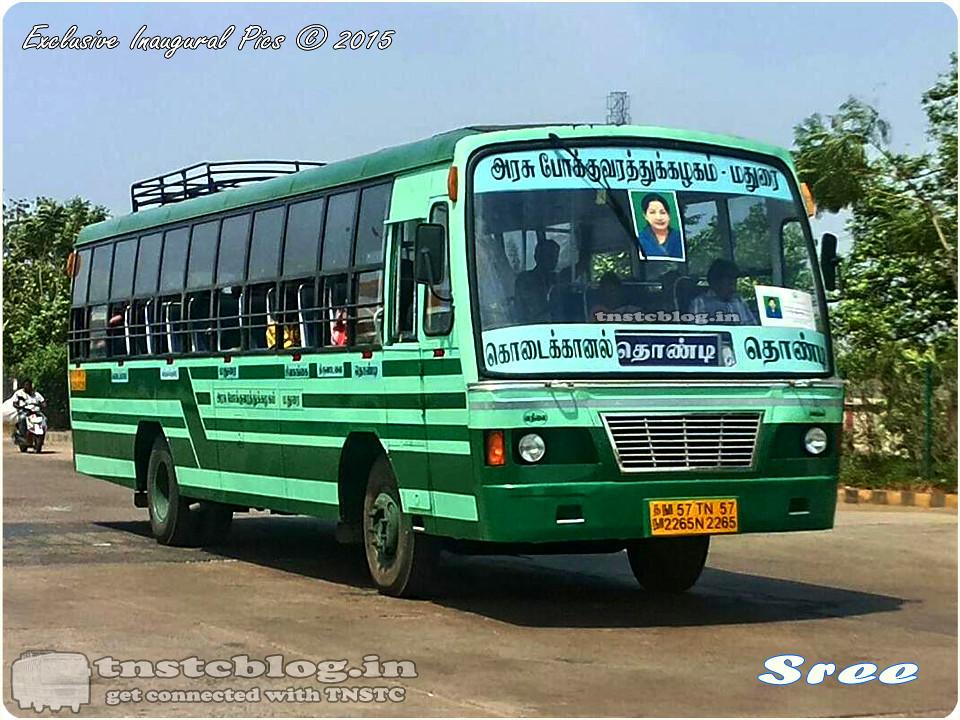 TN-57N-2265 of Vathalagundu Depot Route Kodaikanal - Thondi  via Vathalagundu, Madurai, Sivagangai, Thiruvadanai.