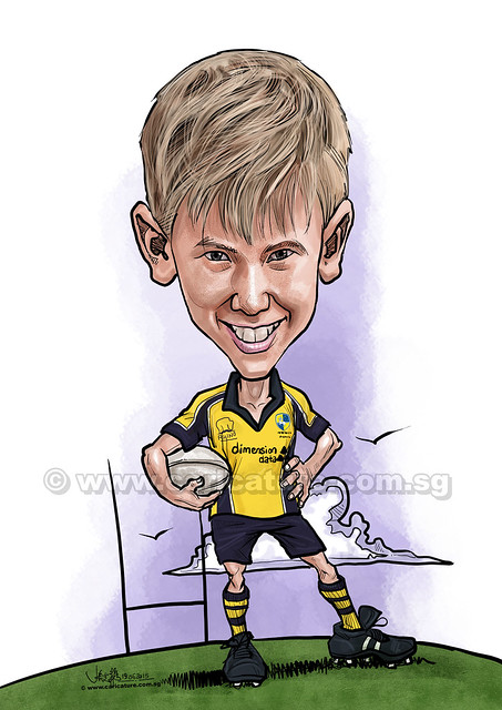 rugby player digital caricature (watermarked)