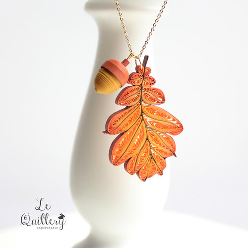 Autumn Oak Leaf Necklace by Le Quillery