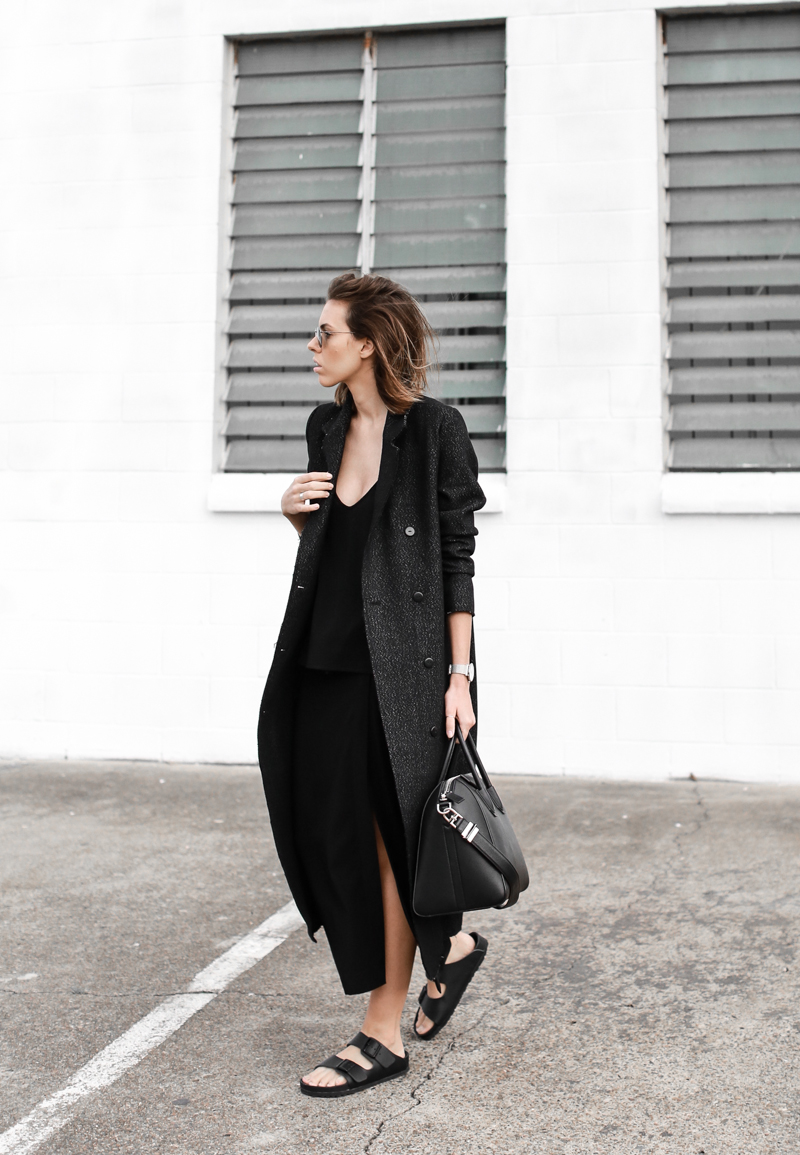 modern legacy, fashion blog, street style, all black, Birkenstocks, Givenchy Antigona, off duty, C&M Manhattan coat, split midi skirt (1 of 1)