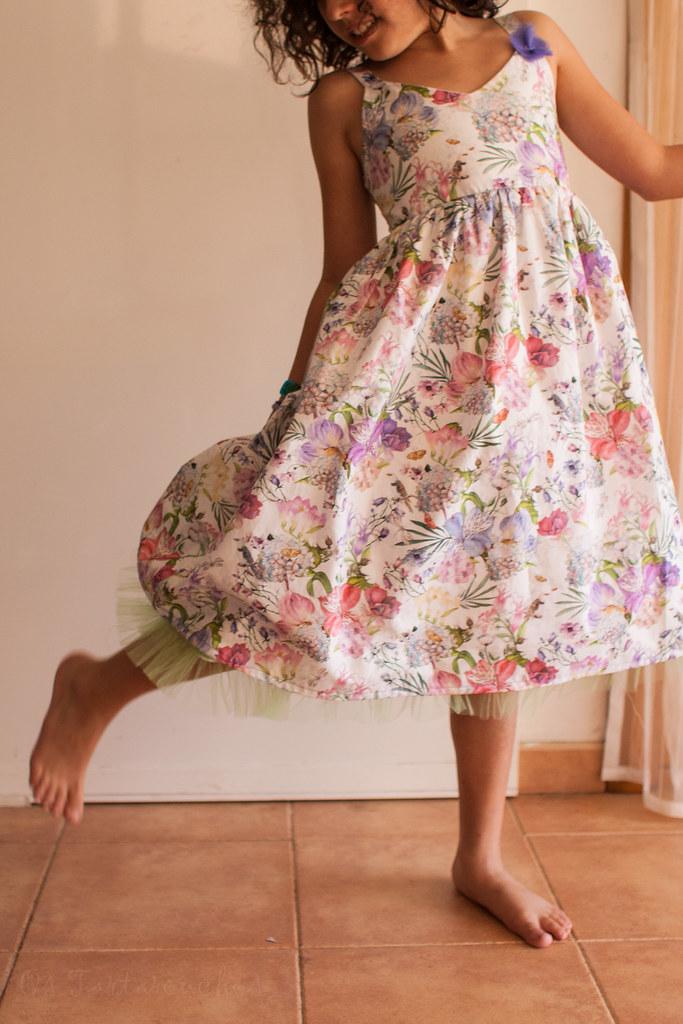 vestido paxaros e flores