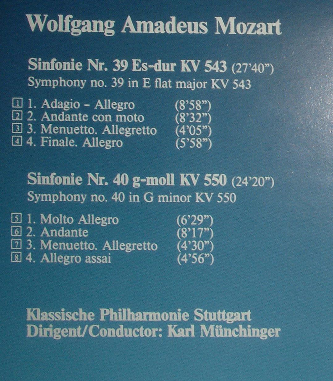 Mozart - Symphonies 39, 40 - Münchinger (1987) [APE]