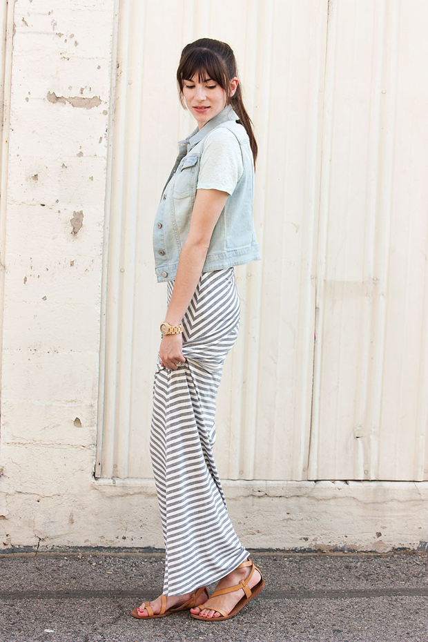 Striped Maxi Skirt, Denim Vest, Jord Watch