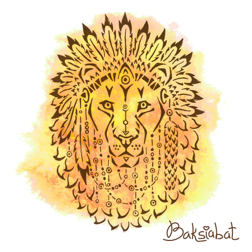 Lion in war bonnet, hand drawn animal illustration