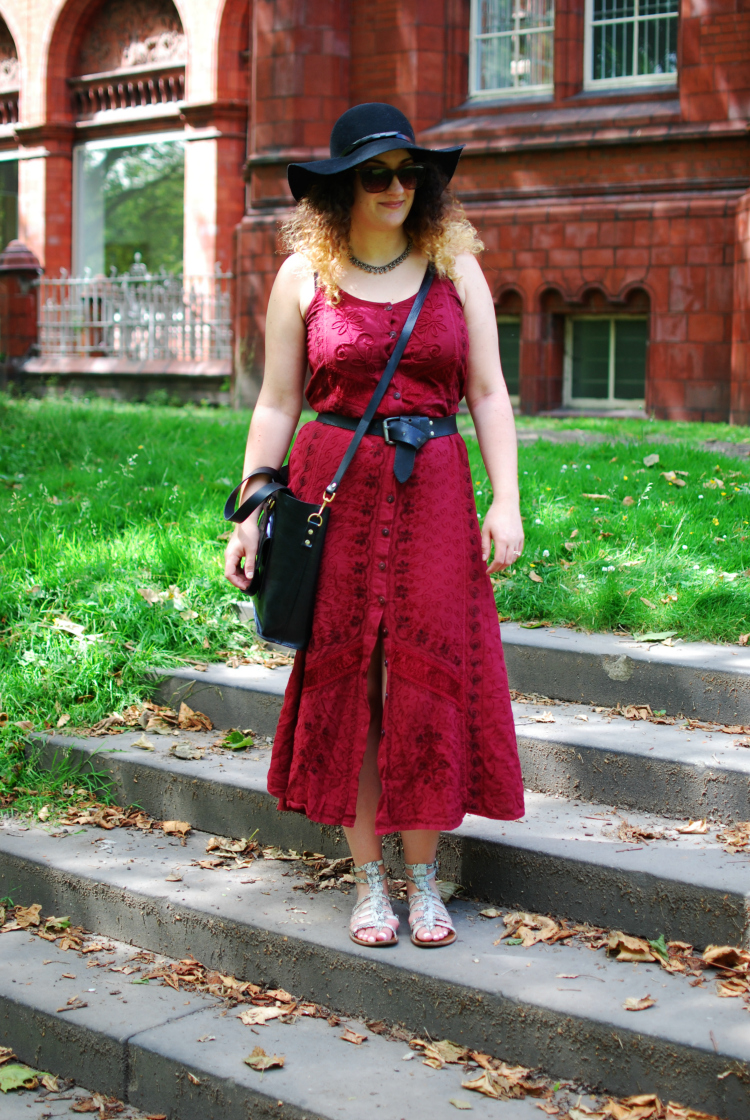 vintage embroidered maxi dress in the park