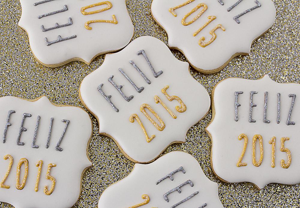 galletas de Navidad decoradas Feliz Año