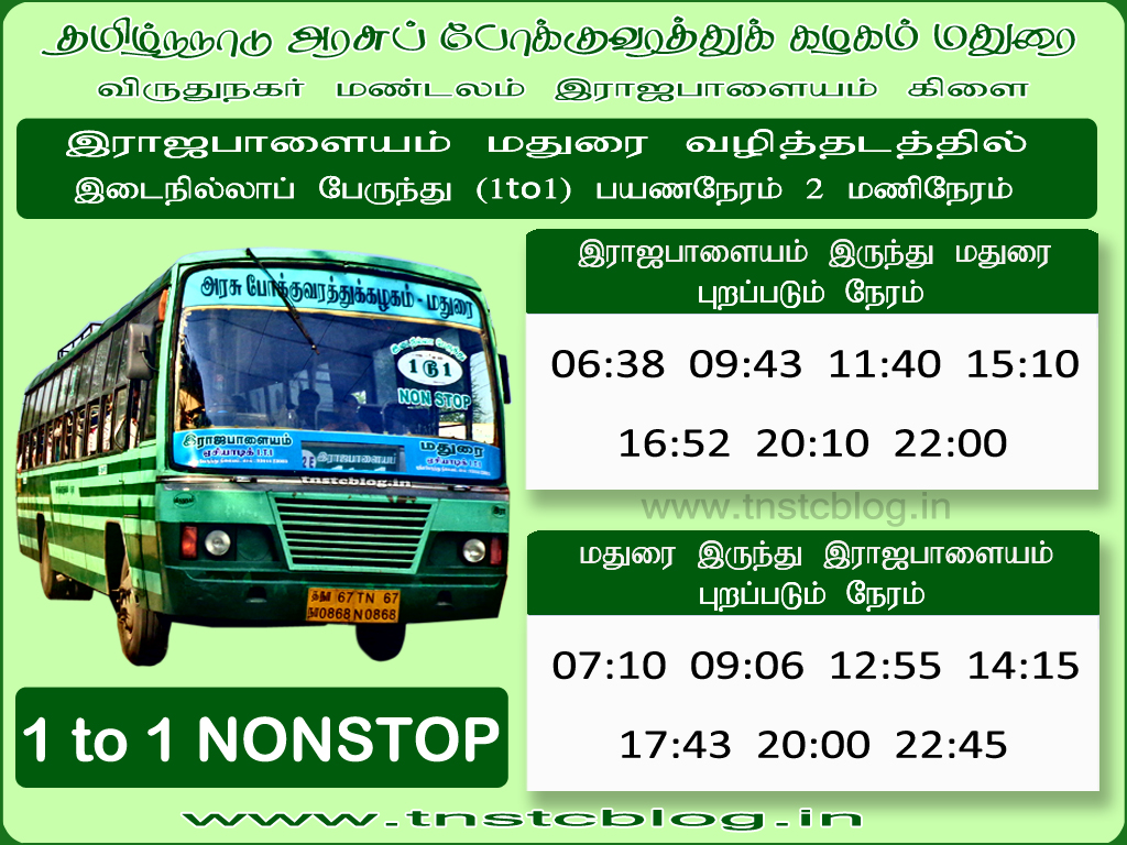 Rajapalayam Madurai 1 to 1 NonStop Timings