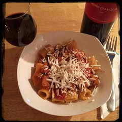 #PastaAllaNorma - served with #Cusumano #NeroDAvola #Vino #Wine of course. :-)