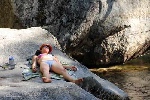 Sunbathing Near Vernal Falls Yosemite National Park