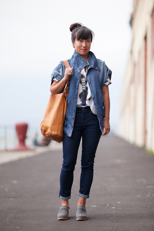 denimjacket street fashion, street style, women, San Francisco, Quick Shots, Fort Mason